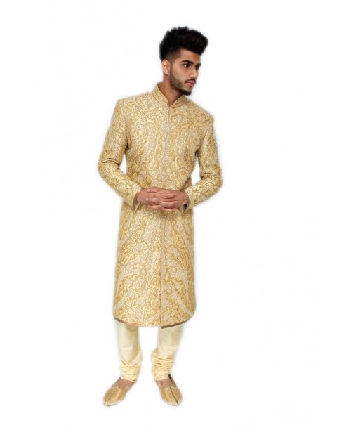 All over work Sherwani gold colour