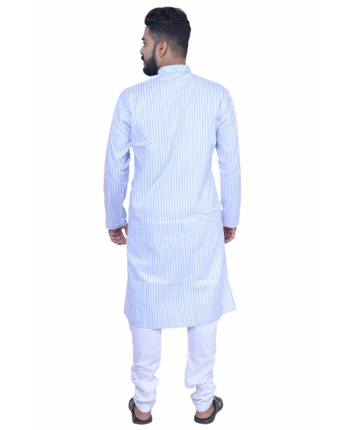 Sky Blue Cotton  Kurta Pajama Set