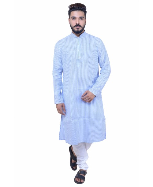 Blue Cotton  Kurta Pajama Set