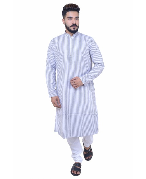 Grey Cotton  Kurta Pajama Set