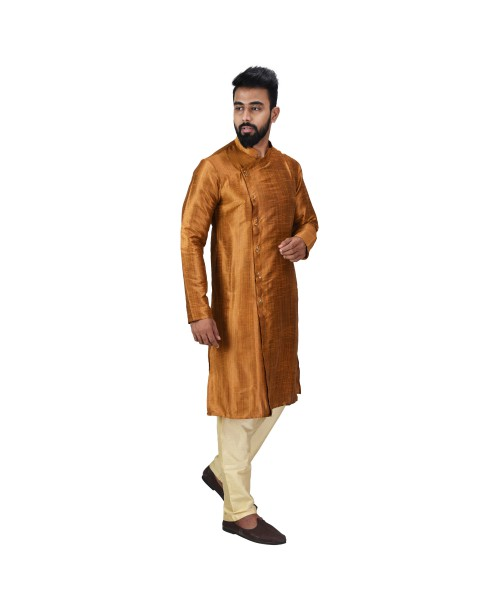 Baga Cut / Angrakha Cotton Silk Regular Fit Self Design Kurta Pajama Set Brown Color