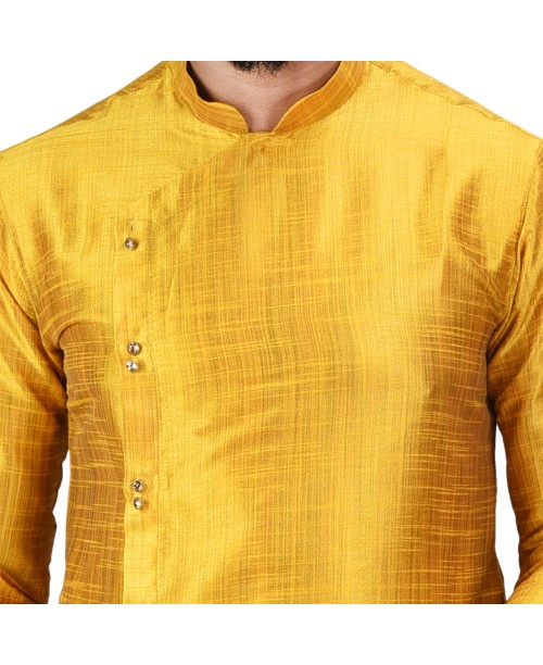 Baga Cut / Angrakha Cotton Silk Regular Fit Self Design Kurta Pajama Set Dark Yellow Color