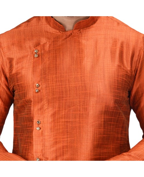 Baga Cut / Angrakha Cotton Silk Regular Fit Self Design Kurta Pajama Set Orange Red Color