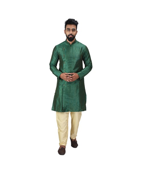 Baga Cut / Angrakha Cotton Silk Regular Fit Self Design Kurta Pajama Set Forest Green Color