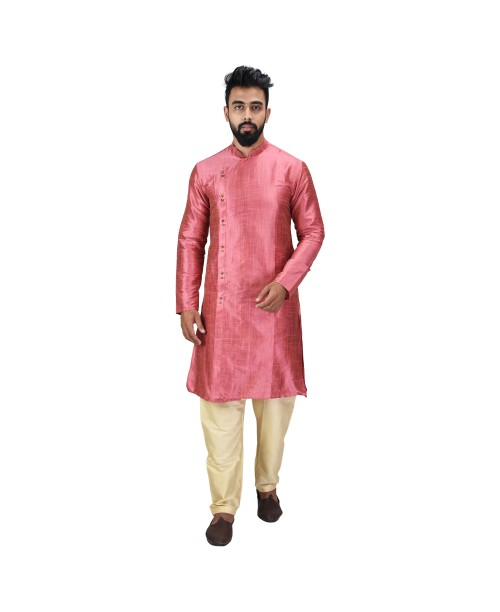 Baga Cut / Angrakha Cotton Silk Regular Fit Self Design Kurta Pajama Set Peach Color