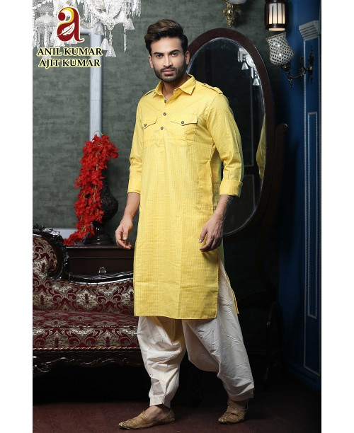 Anil Kumar Ajit Kumar Cotton Silk Regular Fit Self Design Pathani Yellow Color For Haldi