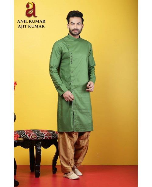 Anil Kumar Ajit Kumar Angrakha Cotton Silk Regular Fit Self Design Kurta Pajama Set Green Color