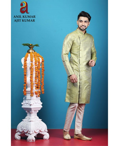 Anil Kumar Ajit Kumar Angrakha Cotton Silk Regular Fit Self Design Kurta Pajama Set Olive Green Color