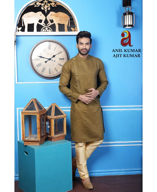 Anil Kumar Ajit Kumar Angrakha Cotton Silk Regular Fit Self Design Kurta Pajama Set Dark Olive Green Color