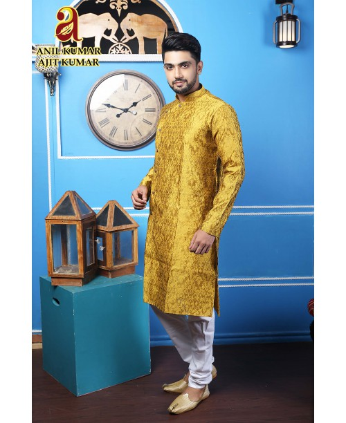 Anil Kumar Ajit Kumar Angrakha Cotton Silk Regular Fit Self Design Kurta Pajama Set Golden Color