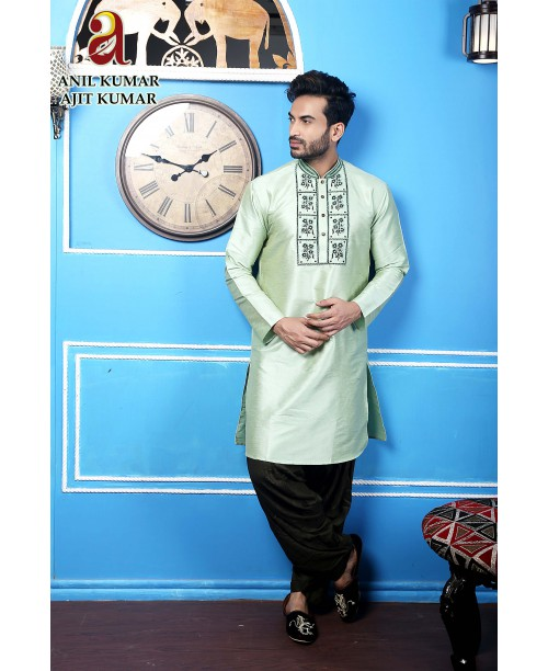 Anil Kumar Ajit Kumar Cotton Silk Regular Fit Self Design Kurta Pajama Set Light Green