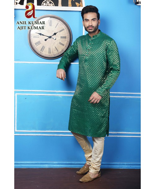 Anil Kumar Ajit Kumar Cotton Silk Regular Fit Self Design Kurta Pajama Set Green color