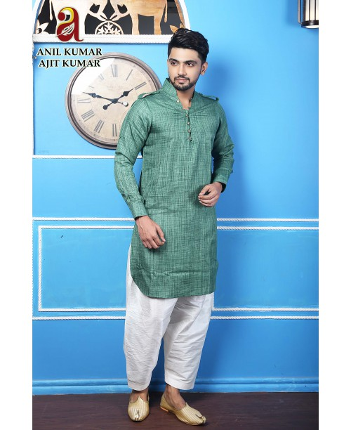 Anil Kumar Ajit Kumar Cotton  Regular Fit Self Design Kurta Pajama Set Bottle Green Color