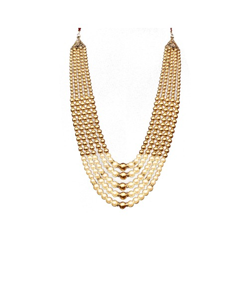 Wedding Necklace Pearl White & Golden Combination Maala Traditional Style For men.