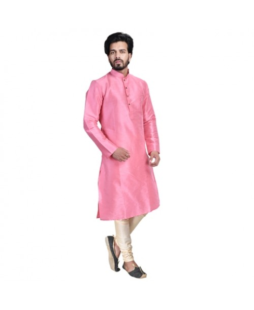 Pink Cotton Silk Kurta Pajama Set