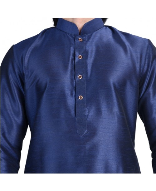 Blue Cotton Silk Kurta Pajama Set