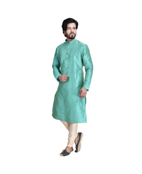 Blue-Green Cotton Silk Kurta Pajama Set