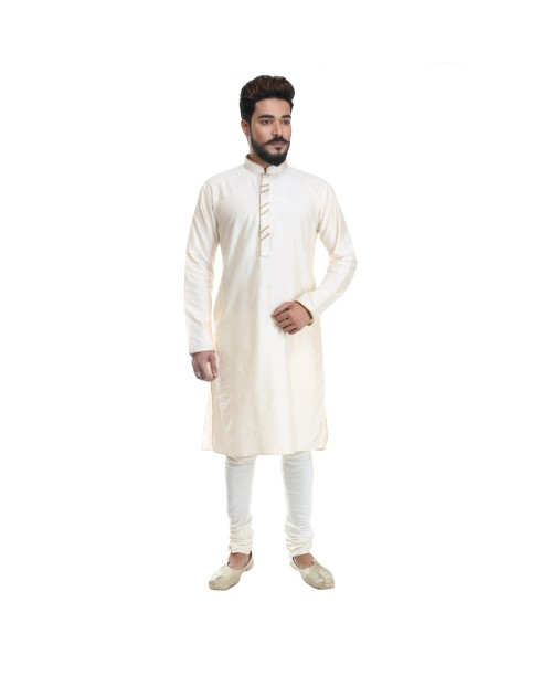 White Yellow Cotton Silk Kurta Pajama Set