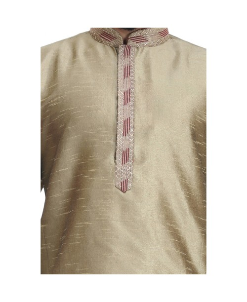 Copper Gold Cotton Silk Kurta Pajama Set