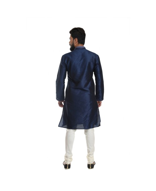 Deep Blue Cotton Silk Kurta Pajama Set