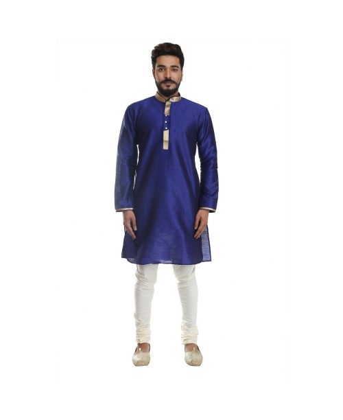 Navy Blue Cotton Silk Kurta Pajama Set