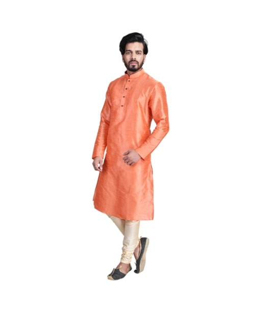 Peach Cotton Silk Kurta Pajama Set