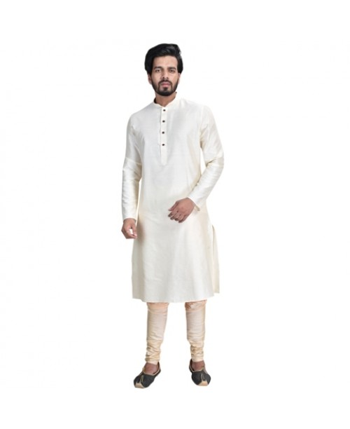 White Cotton Silk Kurta Pajama Set