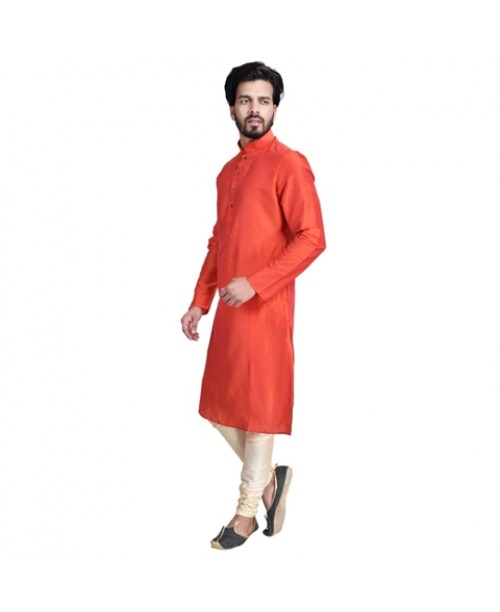 Red Cotton Silk Kurta Pajama Set