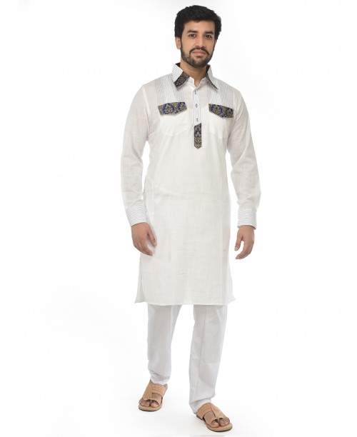 White Pathani Suit for Men