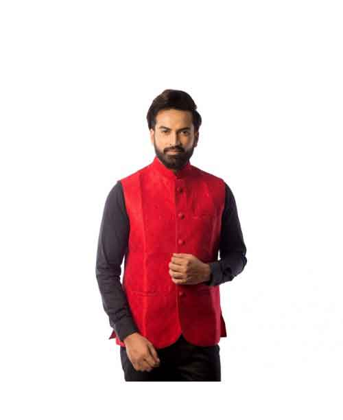 Cotton Blend Nehru Jacket Red Color
