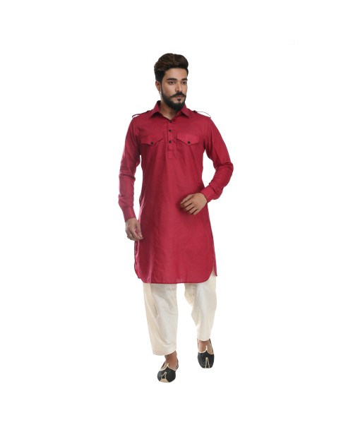 Maroon Pathani Suit for Men