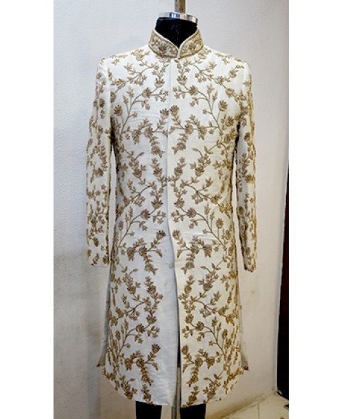 White Flower work Sherwani