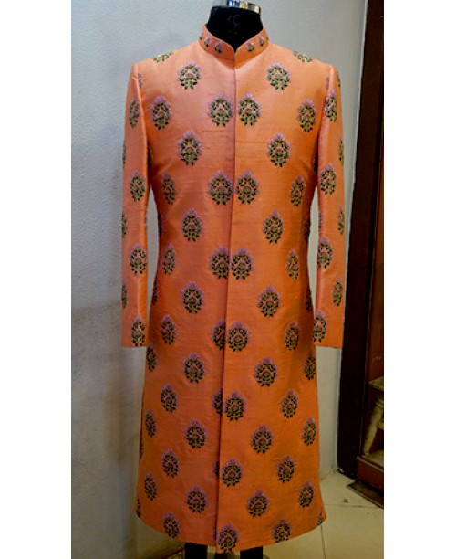 Orange Colour Sherwani