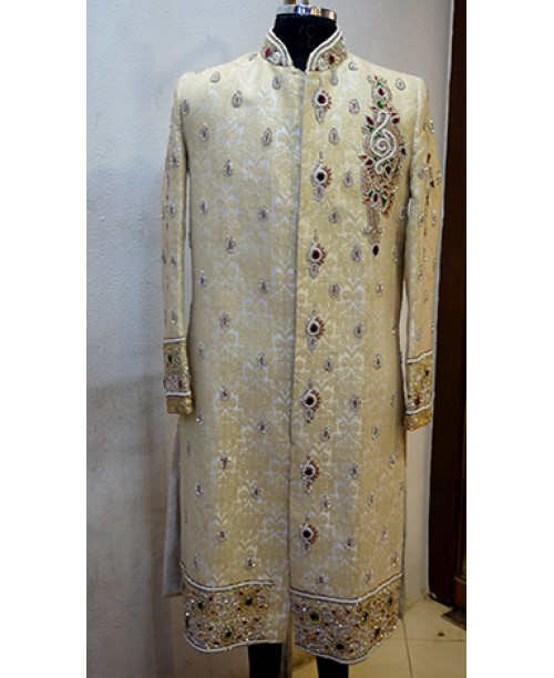 White Buti Work Sherwani