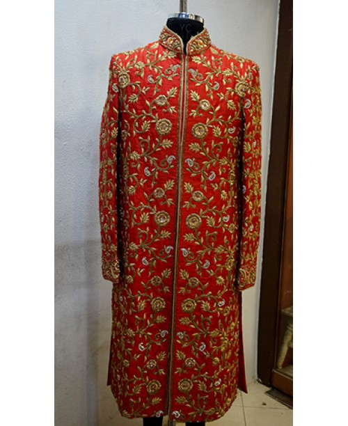 Red Design Sherwani