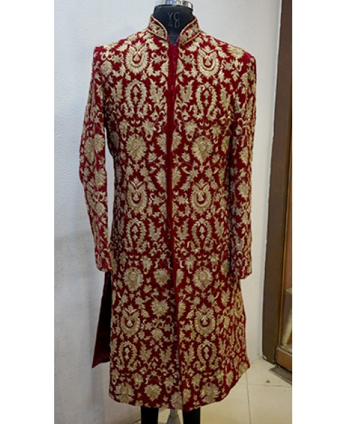 Red White Design Sherwani