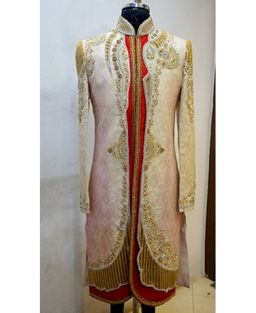 Red White  Golden  Sherwani