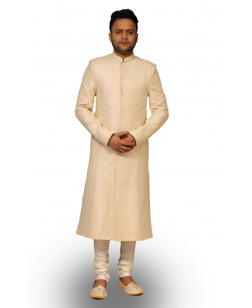 Beige Color Full Work Sherwani