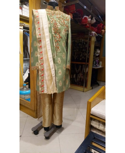 Angrakha Cut Sea Green Color Sherwani