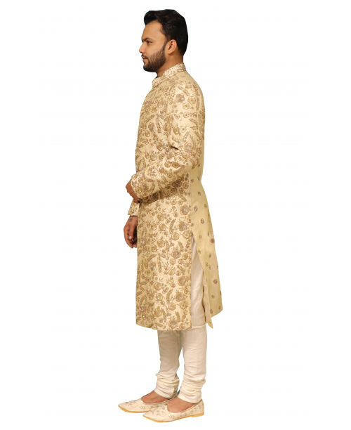 Beige Color Golden Work Sherwani