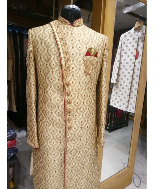 Beige Color Angrakha Cut Sherwani